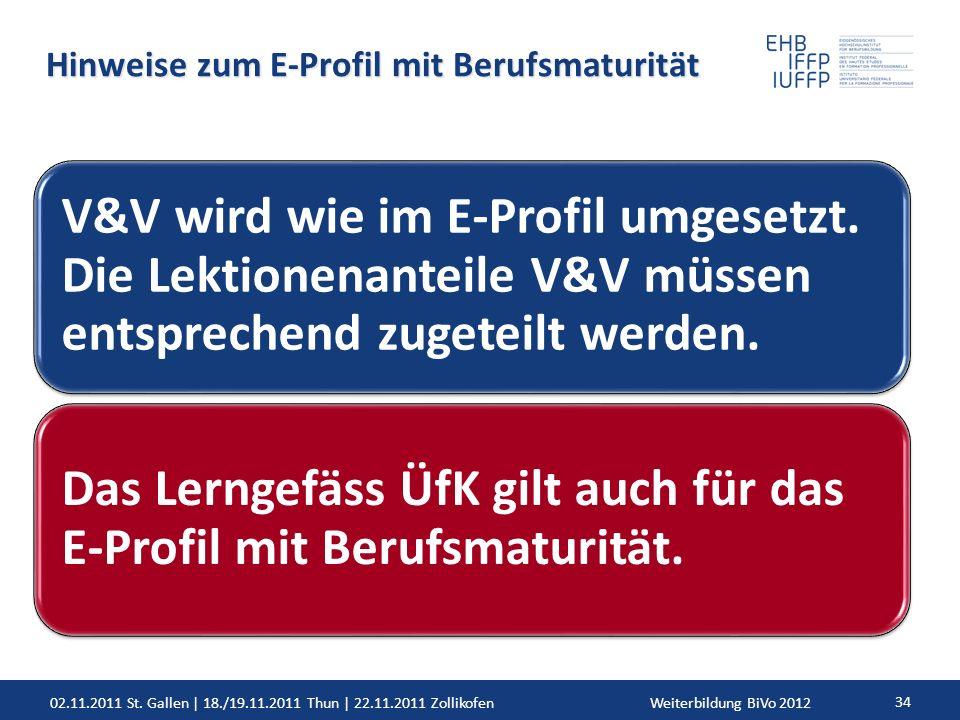 02.11.2011 St. Gallen | 18./19.11.2011 Thun | 22.11.2011 ZollikofenWeiterbildung BiVo 2012 34 Hinweise zum E-Profil mit Berufsmaturität V&V wird wie i
