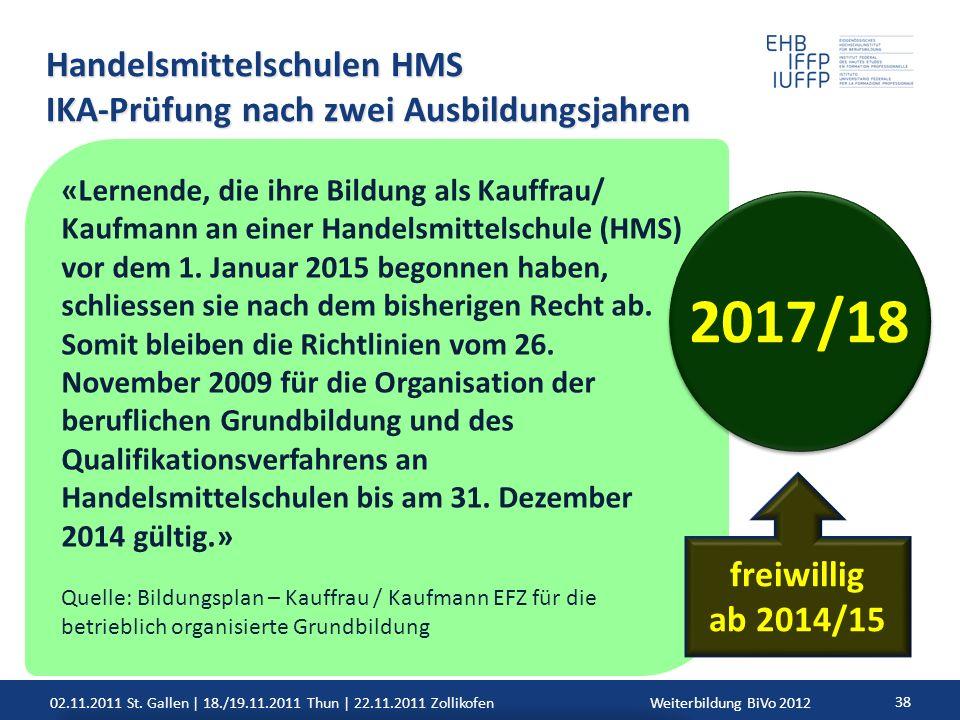 02.11.2011 St. Gallen | 18./19.11.2011 Thun | 22.11.2011 ZollikofenWeiterbildung BiVo 2012 38 Handelsmittelschulen HMS IKA-Prüfung nach zwei Ausbildun