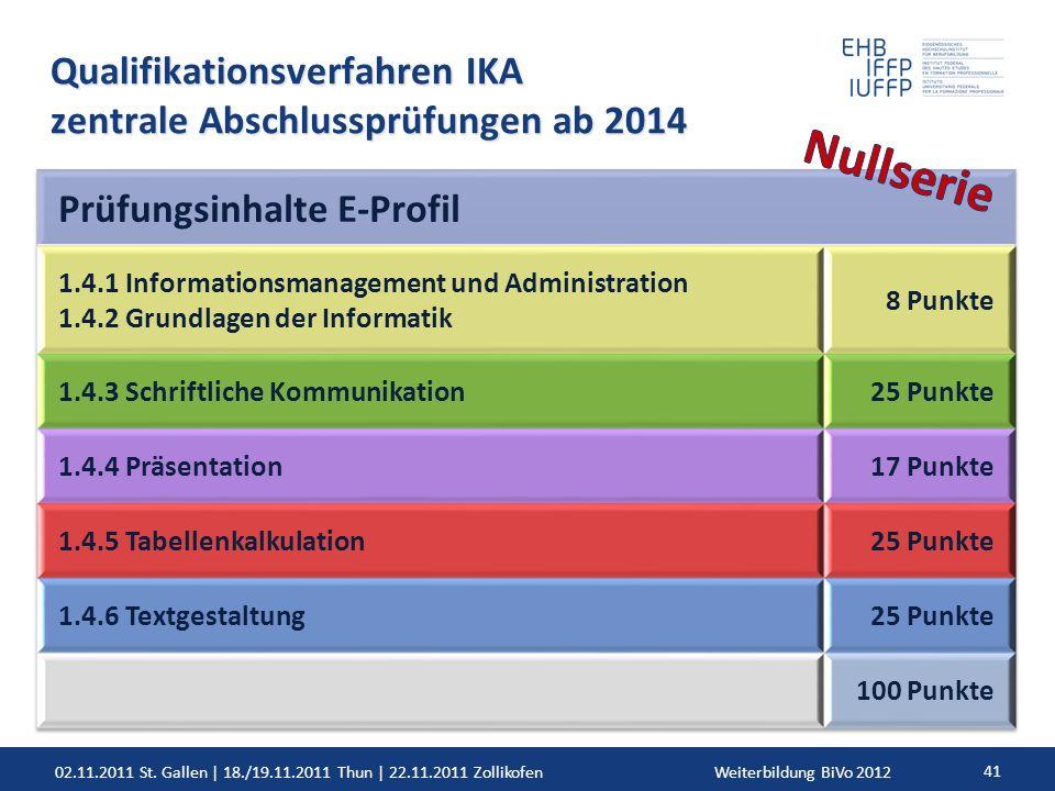 02.11.2011 St. Gallen | 18./19.11.2011 Thun | 22.11.2011 ZollikofenWeiterbildung BiVo 2012 41 Qualifikationsverfahren IKA zentrale Abschlussprüfungen