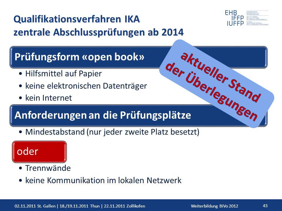 02.11.2011 St. Gallen | 18./19.11.2011 Thun | 22.11.2011 ZollikofenWeiterbildung BiVo 2012 43 Qualifikationsverfahren IKA zentrale Abschlussprüfungen