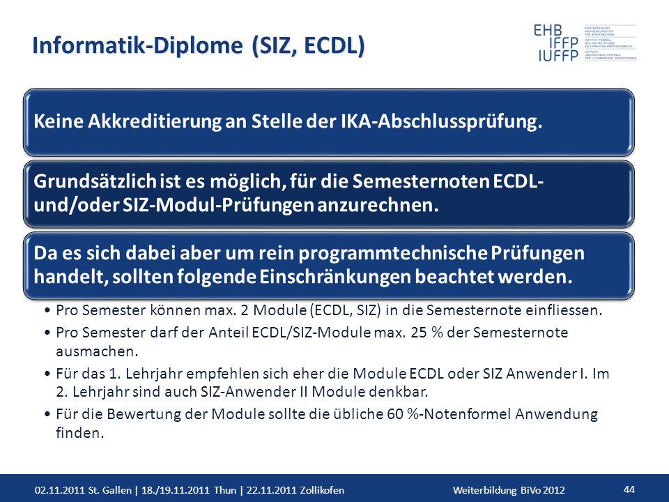 02.11.2011 St. Gallen | 18./19.11.2011 Thun | 22.11.2011 ZollikofenWeiterbildung BiVo 2012 44 Informatik-Diplome (SIZ, ECDL) Keine Akkreditierung an S