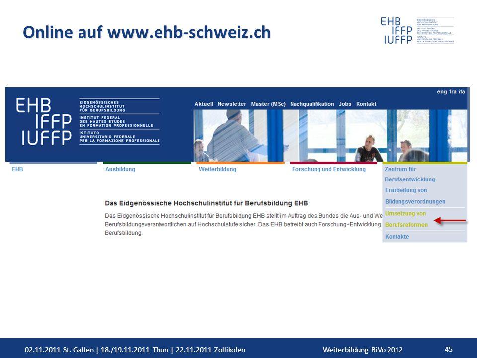 02.11.2011 St. Gallen | 18./19.11.2011 Thun | 22.11.2011 ZollikofenWeiterbildung BiVo 2012 45 Online auf www.ehb-schweiz.ch