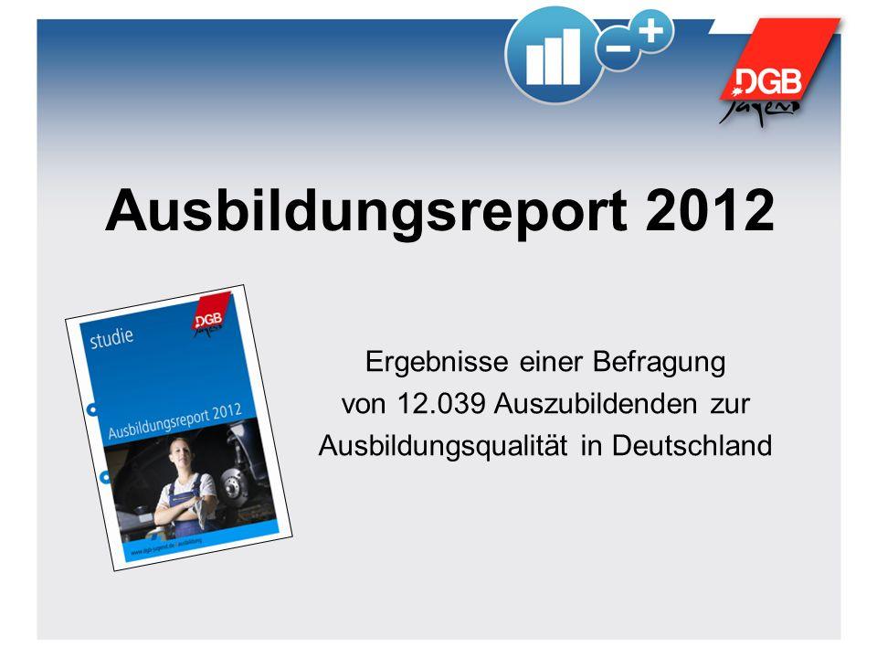 Ausbildungsreport 2012 Ergebnisse einer Befragung von 12.039 Auszubildenden zur Ausbildungsqualität in Deutschland