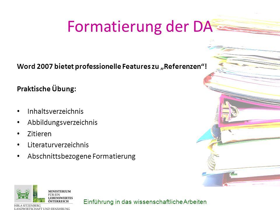 """Formatierung der DA Word 2007 bietet professionelle Features zu """"Referenzen ."""