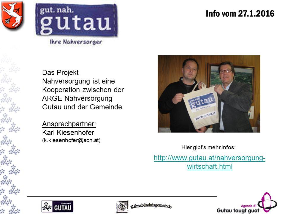 Info vom 27.1.2016 http://www.gutau.at/nahversorgung- wirtschaft.html Hier gibt's mehr Infos: Das Projekt Nahversorgung ist eine Kooperation zwischen der ARGE Nahversorgung Gutau und der Gemeinde.