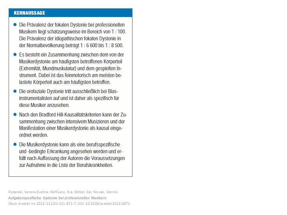 Rozanski, Verena Eveline; Rehfuess, Eva; Bötzel, Kai; Nowak, Dennis Aufgabenspezifische Dystonie bei professionellen Musikern Dtsch Arztebl Int 2015; 112(51-52): 871-7; DOI: 10.3238/arztebl.2015.0871