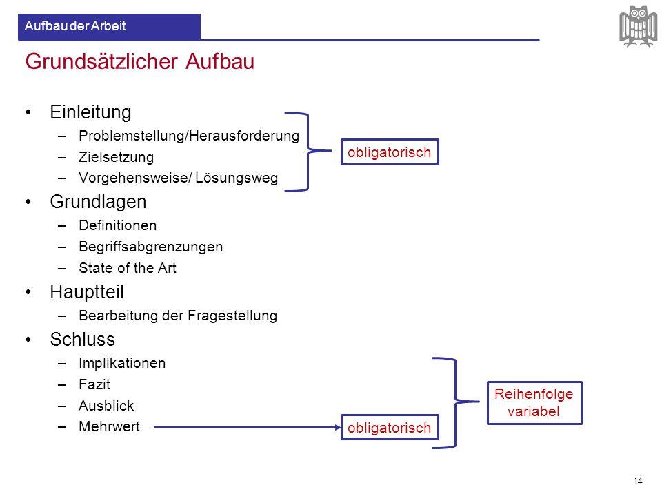 Grundsätzlicher Aufbau Einleitung –Problemstellung/Herausforderung –Zielsetzung –Vorgehensweise/ Lösungsweg Grundlagen –Definitionen –Begriffsabgrenzu