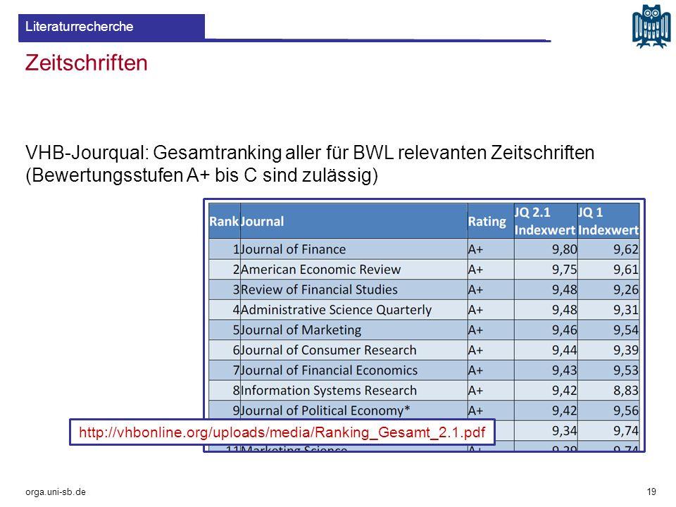 Zeitschriften orga.uni-sb.de 19 Literaturrecherche http://vhbonline.org/uploads/media/Ranking_Gesamt_2.1.pdf VHB-Jourqual: Gesamtranking aller für BWL