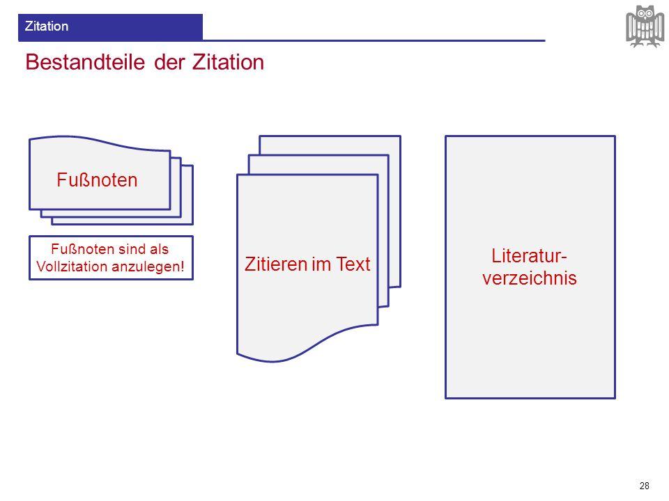 Bestandteile der Zitation 28 Zitation Zitieren im Text Literatur- verzeichnis Fußnoten Fußnoten sind als Vollzitation anzulegen!