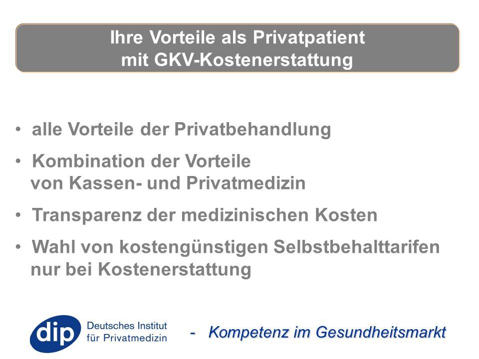 - Kompetenz im Gesundheitsmarkt alle Vorteile der Privatbehandlung Kombination der Vorteile von Kassen- und Privatmedizin Transparenz der medizinische