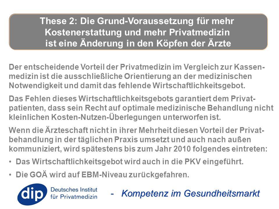 - Kompetenz im Gesundheitsmarkt Der entscheidende Vorteil der Privatmedizin im Vergleich zur Kassen- medizin ist die ausschließliche Orientierung an d
