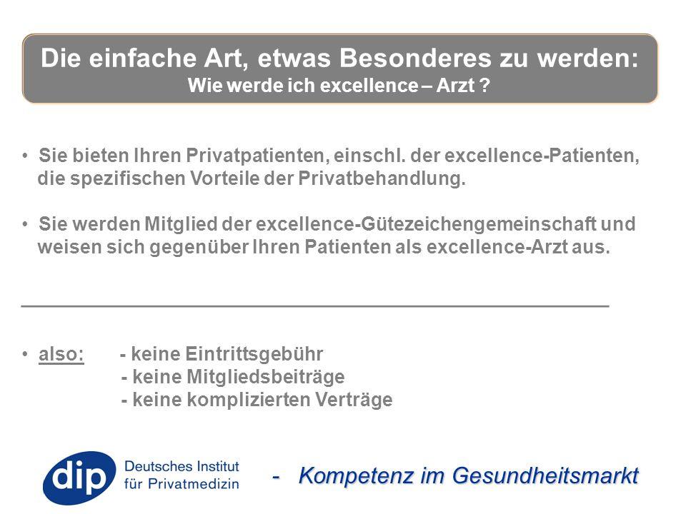 - Kompetenz im Gesundheitsmarkt Sie bieten Ihren Privatpatienten, einschl. der excellence-Patienten, die spezifischen Vorteile der Privatbehandlung. S