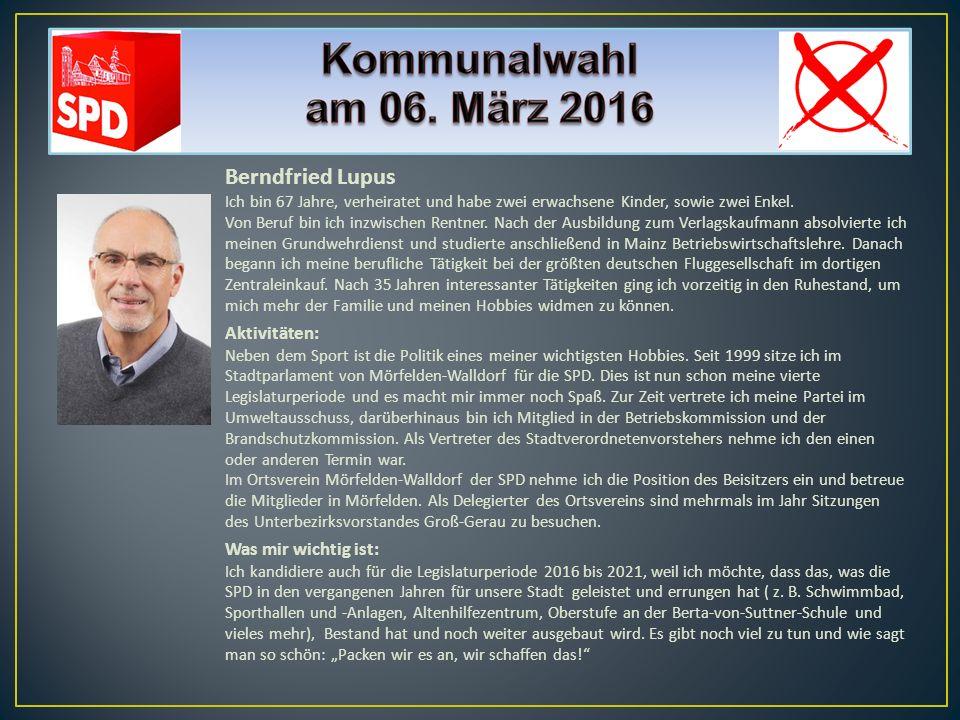 Berndfried Lupus Ich bin 67 Jahre, verheiratet und habe zwei erwachsene Kinder, sowie zwei Enkel. Von Beruf bin ich inzwischen Rentner. Nach der Ausbi