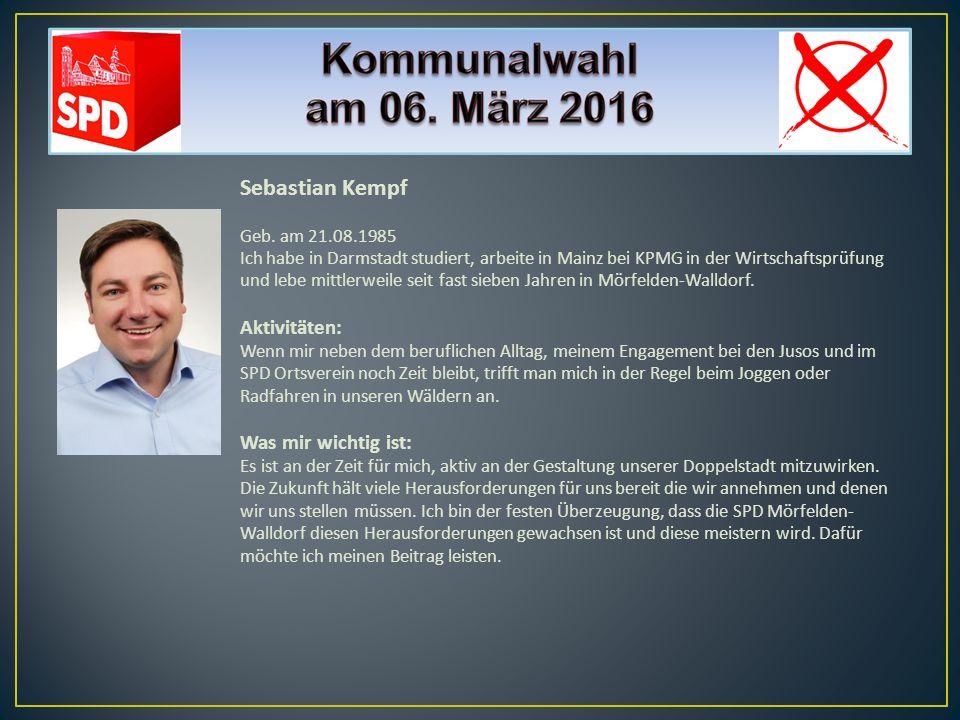 Sebastian Kempf Geb. am 21.08.1985 Ich habe in Darmstadt studiert, arbeite in Mainz bei KPMG in der Wirtschaftsprüfung und lebe mittlerweile seit fast