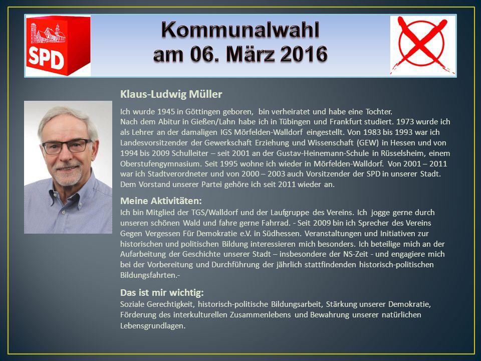 Klaus-Ludwig Müller Ich wurde 1945 in Göttingen geboren, bin verheiratet und habe eine Tochter. Nach dem Abitur in Gießen/Lahn habe ich in Tübingen un