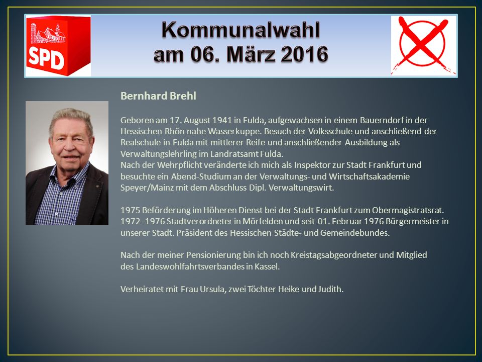 Bernhard Brehl Geboren am 17. August 1941 in Fulda, aufgewachsen in einem Bauerndorf in der Hessischen Rhön nahe Wasserkuppe. Besuch der Volksschule u