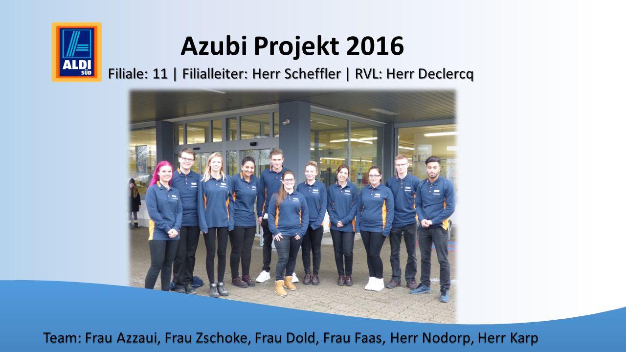 Azubi Projekt 2016 Filiale: 11 | Filialleiter: Herr Scheffler | RVL: Herr Declercq Team: Frau Azzaui, Frau Zschoke, Frau Dold, Frau Faas, Herr Nodorp,