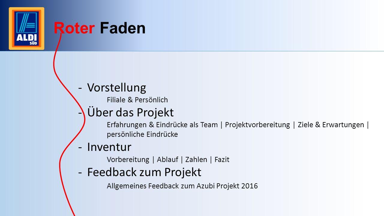 Roter Faden -Vorstellung Filiale & Persönlich -Über das Projekt Erfahrungen & Eindrücke als Team | Projektvorbereitung | Ziele & Erwartungen | persönl
