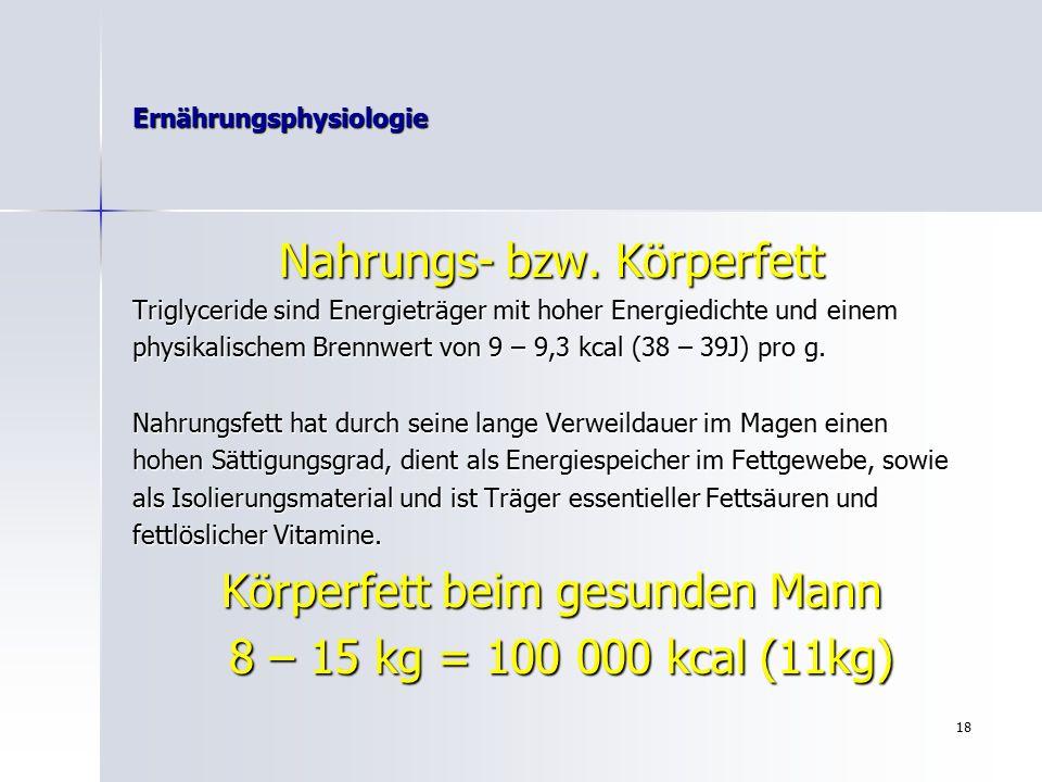 17 Ernährungsphysiologie Ballaststoffgehalt ausgewählter gängiger Lebensmittel Lebensmittel Ballaststoffgehalt (g unlösbarer /100g löslicher) Vollkornreis4,01,12,9 Weizen9,67,42,2 Roggen13,410,23,2 Weizenmischbrot4,82,12,7 Zwiebelkuchen4,93,31,6 Weizenvollkornbrot6,94,92,2 Müsli4,61,23,4 Nudeln, gekocht1,50,41,1 Weintrauben1,61,20,4 Banane2,01040,6 Apfel2,31,11,2 Walnüsse4,62,52,1