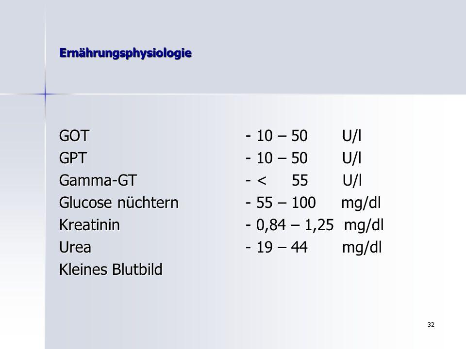 31 Ernährungsphysiologie Labordiagnostik Labordiagnostik Bestimmung folgender Parameter: Cholesterin- 200 mg/dl HDL- 35-55mg/dl ( hab dich lieb ) LDL- 150 mg/dl ( lass dich leiden ) Triglyceride- 150 mg/dl Harnsäure- 3,4 -7,0 mg/dl bei Männern