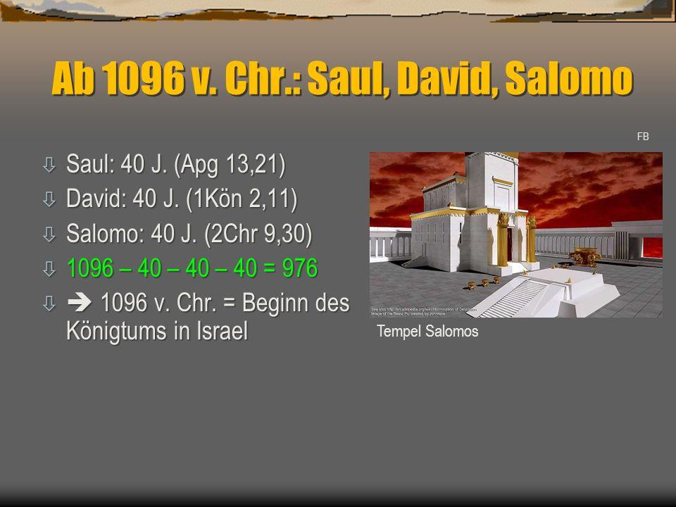 Ab 1096 v. Chr.: Saul, David, Salomo ò Saul: 40 J. (Apg 13,21) ò David: 40 J. (1Kön 2,11) ò Salomo: 40 J. (2Chr 9,30) ò 1096 – 40 – 40 – 40 = 976 ò 