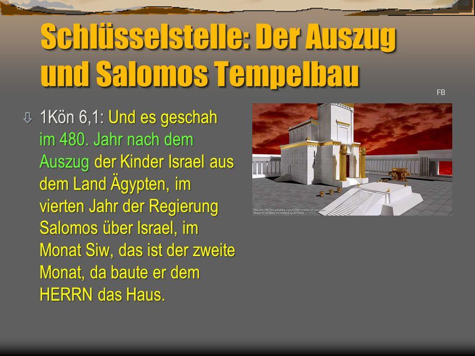 Schlüsselstelle: Der Auszug und Salomos Tempelbau ò 1Kön 6,1: Und es geschah im 480. Jahr nach dem Auszug der Kinder Israel aus dem Land Ägypten, im v