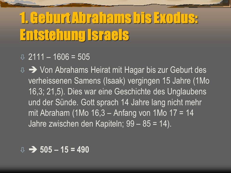 1. Geburt Abrahams bis Exodus: Entstehung Israels ò 2111 – 1606 = 505 ò  Von Abrahams Heirat mit Hagar bis zur Geburt des verheissenen Samens (Isaak)