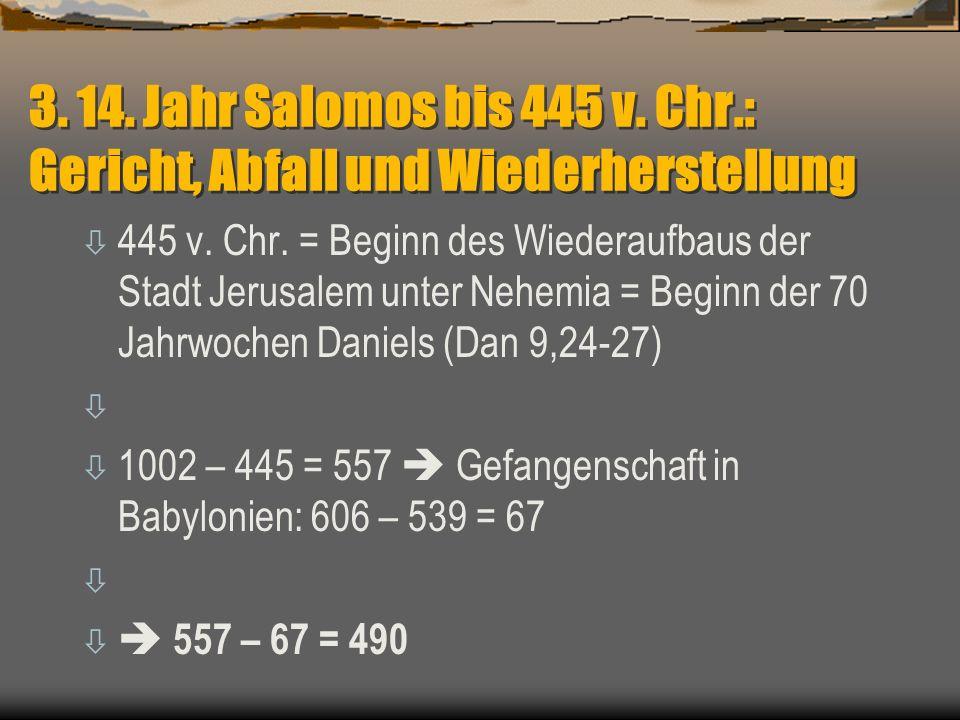 3. 14. Jahr Salomos bis 445 v. Chr.: Gericht, Abfall und Wiederherstellung ò 445 v. Chr. = Beginn des Wiederaufbaus der Stadt Jerusalem unter Nehemia
