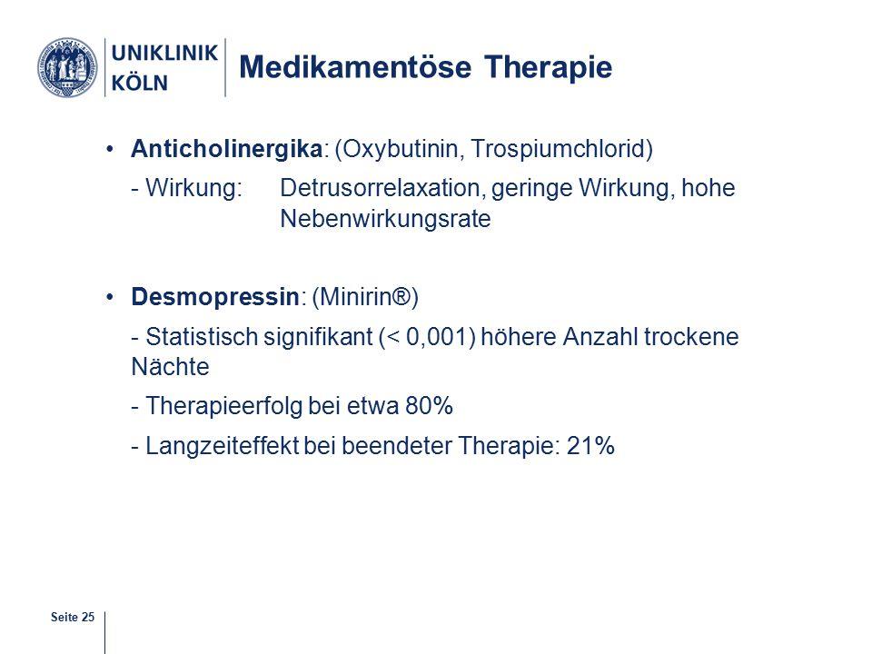 Seite 25 Medikamentöse Therapie Anticholinergika: (Oxybutinin, Trospiumchlorid) - Wirkung: Detrusorrelaxation, geringe Wirkung, hohe Nebenwirkungsrate Desmopressin: (Minirin®) - Statistisch signifikant (< 0,001) höhere Anzahl trockene Nächte - Therapieerfolg bei etwa 80% - Langzeiteffekt bei beendeter Therapie: 21%