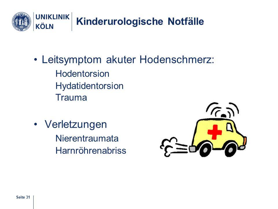 Seite 31 Kinderurologische Notfälle Leitsymptom akuter Hodenschmerz: Hodentorsion Hydatidentorsion Trauma Verletzungen Nierentraumata Harnröhrenabriss