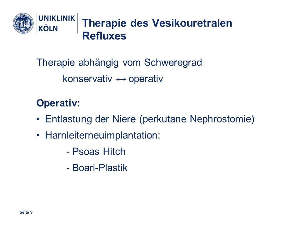 Seite 9 Therapie des Vesikouretralen Refluxes Therapie abhängig vom Schweregrad konservativ ↔ operativ Operativ: Entlastung der Niere (perkutane Nephrostomie) Harnleiterneuimplantation: - Psoas Hitch - Boari-Plastik 12-38
