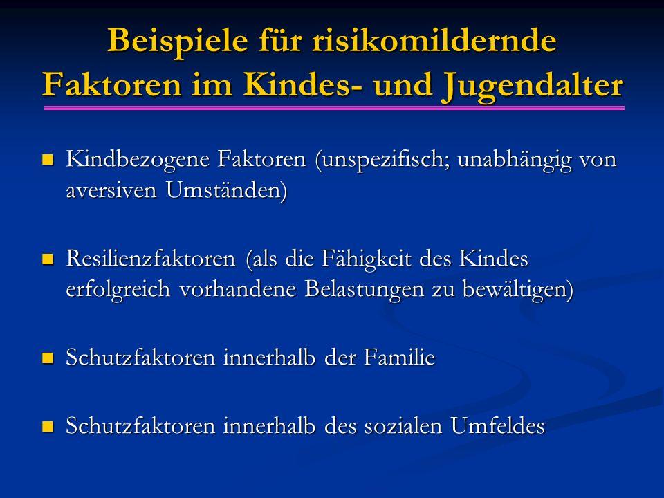 Beispiele für risikomildernde Faktoren im Kindes- und Jugendalter Kindbezogene Faktoren (unspezifisch; unabhängig von aversiven Umständen) Kindbezogen