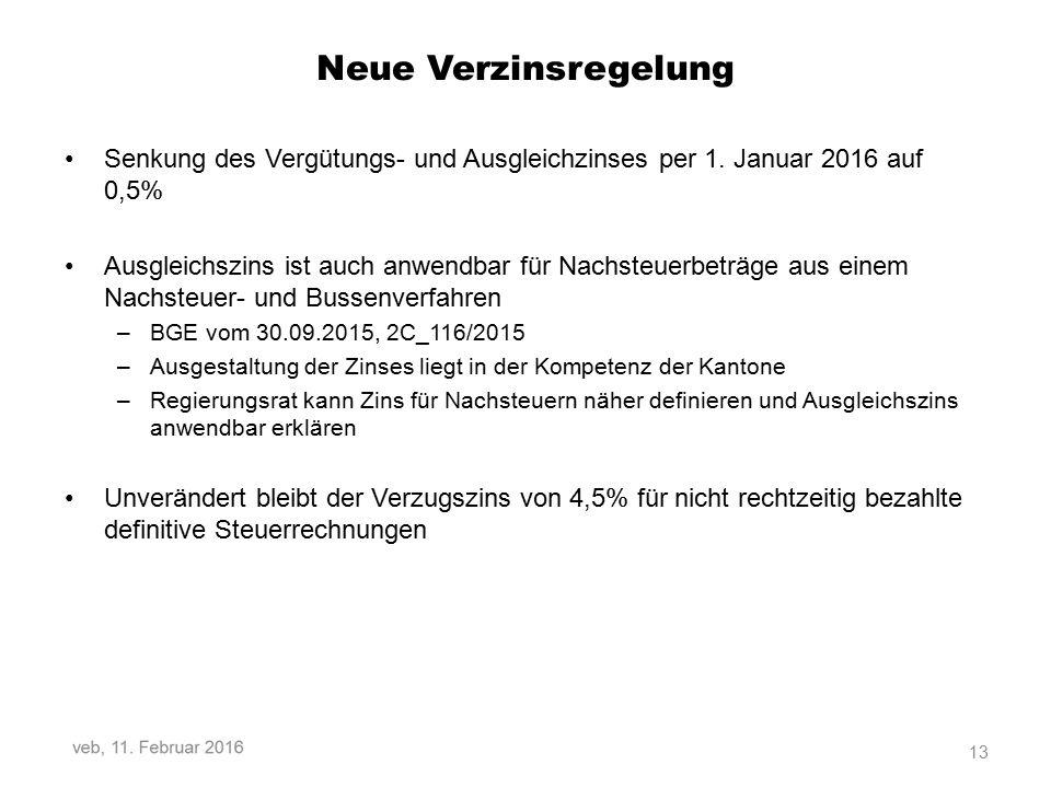 Neue Verzinsregelung Senkung des Vergütungs- und Ausgleichzinses per 1.