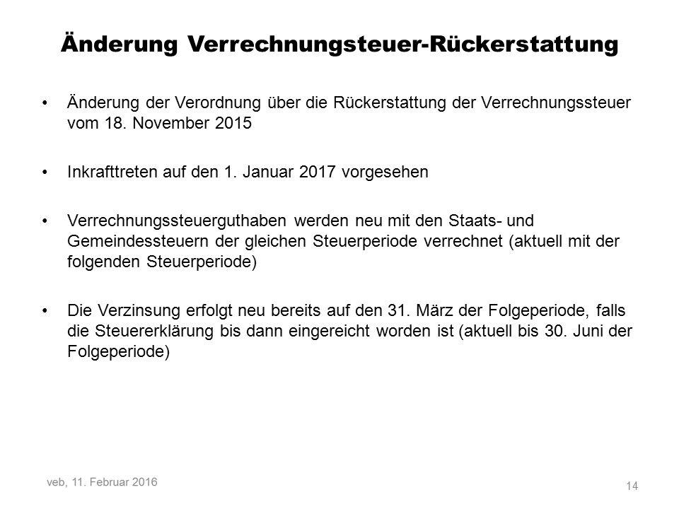 Änderung Verrechnungsteuer-Rückerstattung Änderung der Verordnung über die Rückerstattung der Verrechnungssteuer vom 18.