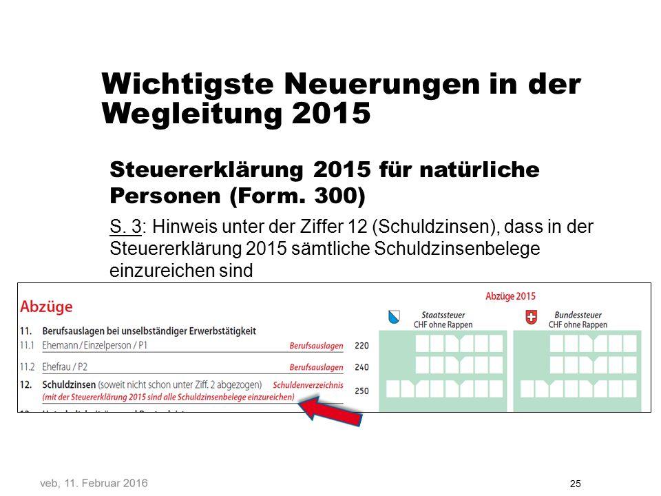 Wichtigste Neuerungen in der Wegleitung 2015 Steuererklärung 2015 für natürliche Personen (Form.