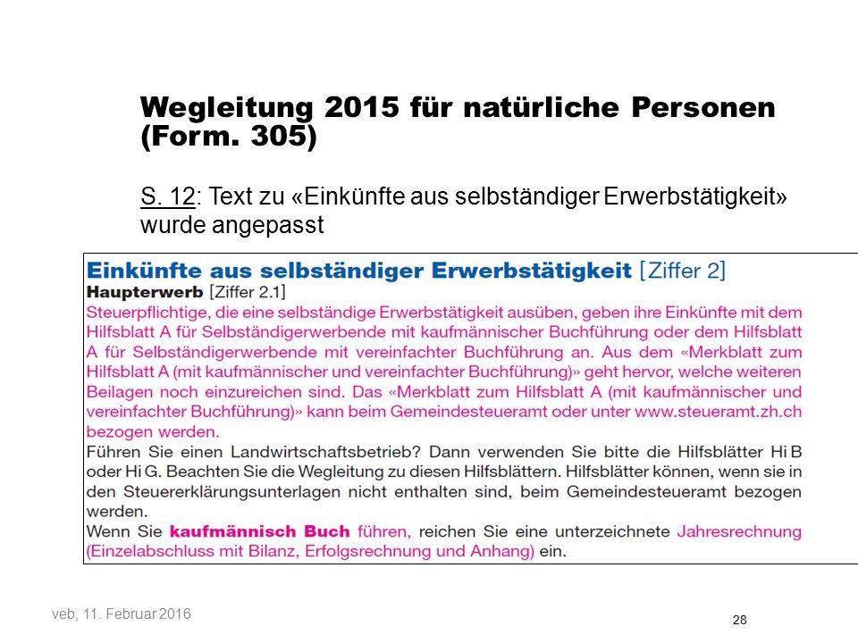 Wegleitung 2015 für natürliche Personen (Form.305) S.