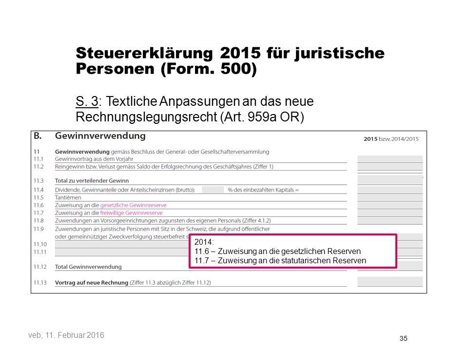 Steuererklärung 2015 für juristische Personen (Form.