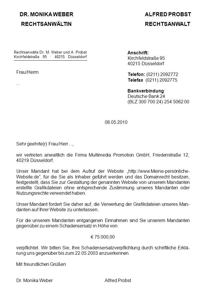 DR. MONIKA WEBERALFRED PROBST RECHTSANWÄLTINRECHTSANWALT Rechtsanwälte Dr.