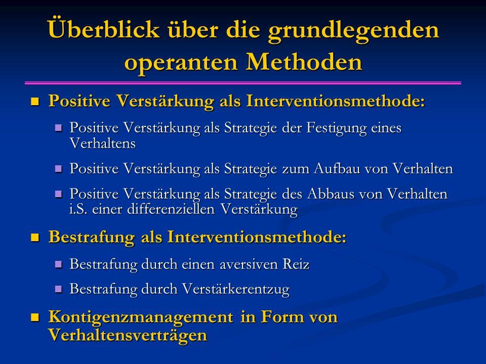 Überblick über die grundlegenden operanten Methoden Positive Verstärkung als Interventionsmethode: Positive Verstärkung als Interventionsmethode: Posi