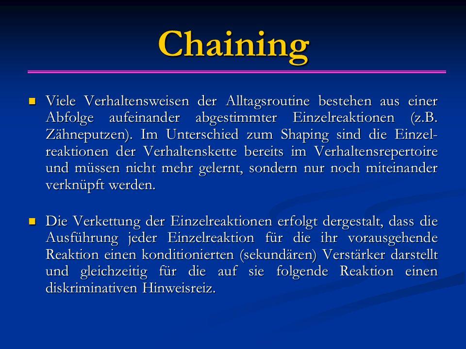 Chaining Viele Verhaltensweisen der Alltagsroutine bestehen aus einer Abfolge aufeinander abgestimmter Einzelreaktionen (z.B. Zähneputzen). Im Untersc