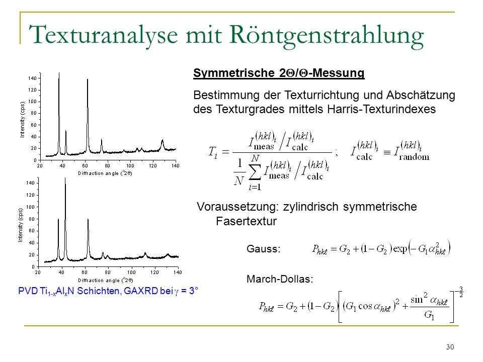 30 Texturanalyse mit Röntgenstrahlung Symmetrische 2  /  -Messung Bestimmung der Texturrichtung und Abschätzung des Texturgrades mittels Harris-Texturindexes Voraussetzung: zylindrisch symmetrische Fasertextur Gauss: March-Dollas: PVD Ti 1-x Al x N Schichten, GAXRD bei  = 3°