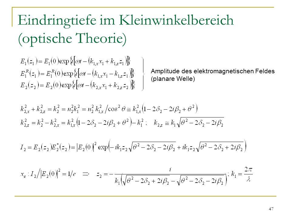 47 Eindringtiefe im Kleinwinkelbereich (optische Theorie) Amplitude des elektromagnetischen Feldes (planare Welle)