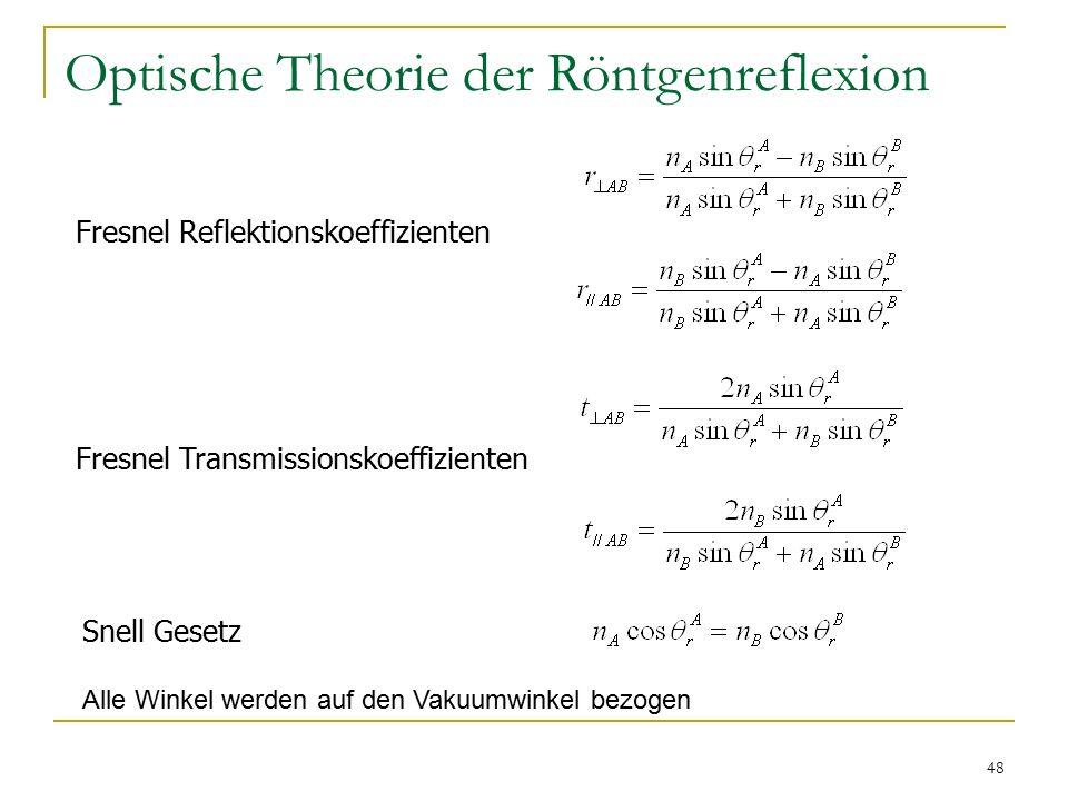 48 Optische Theorie der Röntgenreflexion Fresnel Reflektionskoeffizienten Fresnel Transmissionskoeffizienten Snell Gesetz Alle Winkel werden auf den Vakuumwinkel bezogen