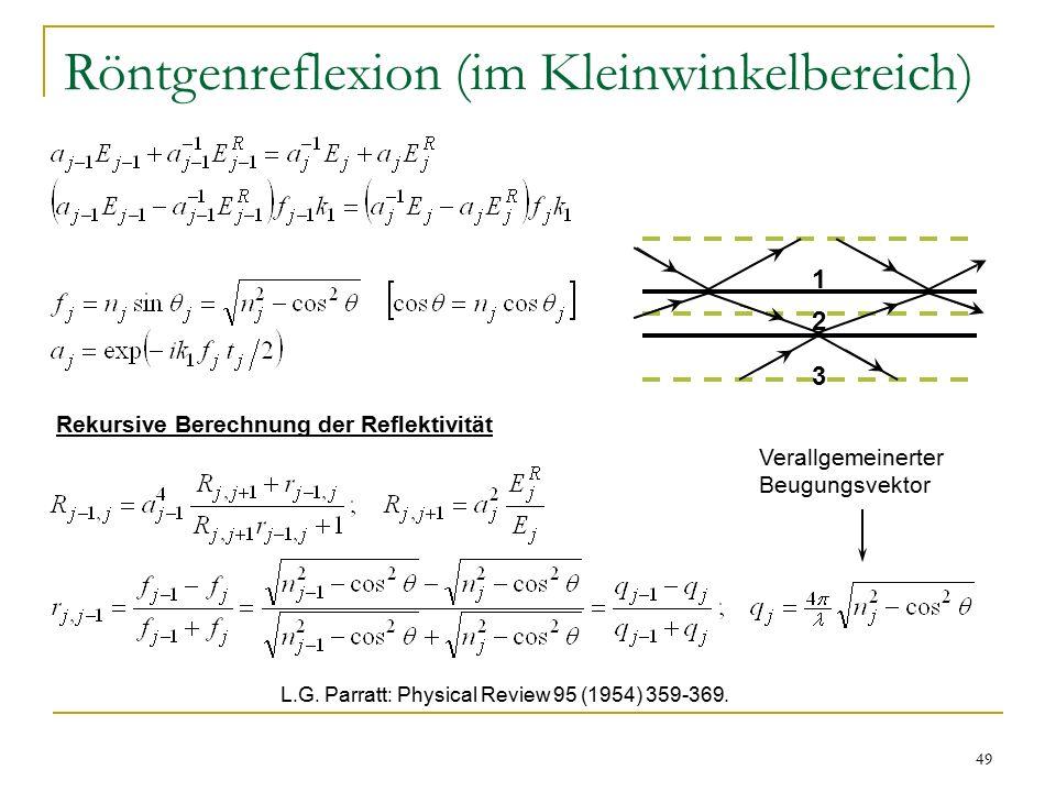 49 Röntgenreflexion (im Kleinwinkelbereich) 1 2 3 Verallgemeinerter Beugungsvektor L.G.