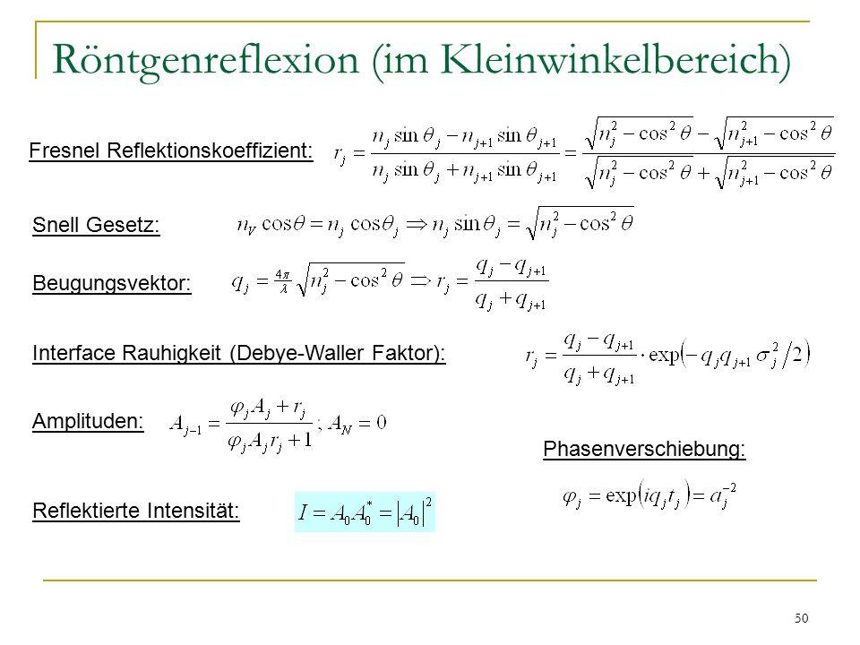 50 Röntgenreflexion (im Kleinwinkelbereich) Fresnel Reflektionskoeffizient: Snell Gesetz: Beugungsvektor: Interface Rauhigkeit (Debye-Waller Faktor): Phasenverschiebung: Amplituden: Reflektierte Intensität: