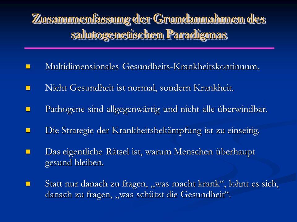 Zusammenfassung der Grundannahmen des salutogenetischen Paradigmas Multidimensionales Gesundheits-Krankheitskontinuum. Multidimensionales Gesundheits-