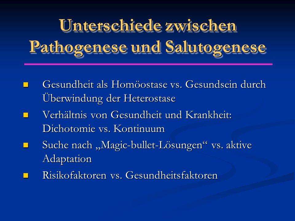 Unterschiede zwischen Pathogenese und Salutogenese Gesundheit als Homöostase vs. Gesundsein durch Überwindung der Heterostase Gesundheit als Homöostas