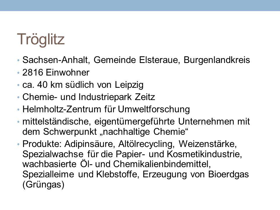 Tröglitz Sachsen-Anhalt, Gemeinde Elsteraue, Burgenlandkreis 2816 Einwohner ca. 40 km südlich von Leipzig Chemie- und Industriepark Zeitz Helmholtz-Ze