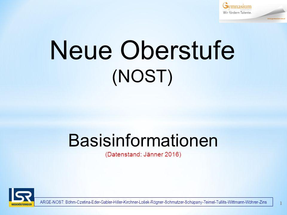 ARGE-NOST: Böhm-Czetina-Eder-Gabler-Hiller-Kirchner-Lošek-Rögner-Schmutzer-Schüpany-Teimel-Tullits-Wittmann-Wöhrer-Zins 1 Basisinformationen (Datenstand: Jänner 2016) Neue Oberstufe (NOST)