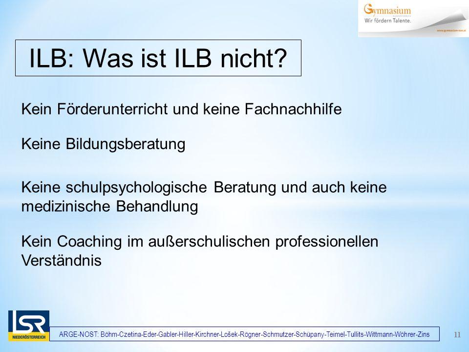 ARGE-NOST: Böhm-Czetina-Eder-Gabler-Hiller-Kirchner-Lošek-Rögner-Schmutzer-Schüpany-Teimel-Tullits-Wittmann-Wöhrer-Zins Kein Förderunterricht und keine Fachnachhilfe ILB: Was ist ILB nicht.